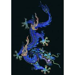 Дракон с жемчужиной (синие тона)